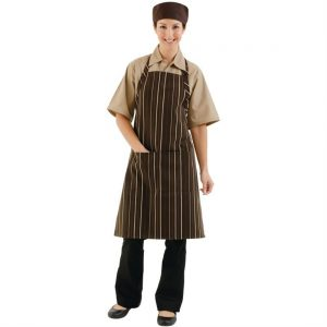 Chef Works Bib Apron Chocolate and Cream Stripe
