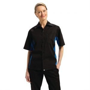 Chef Works Unisex Contrast Black and Blue Shirt 2XL