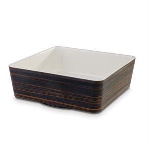 APS Plus Melamine Square Bowl Oak and Cream 4 Ltr