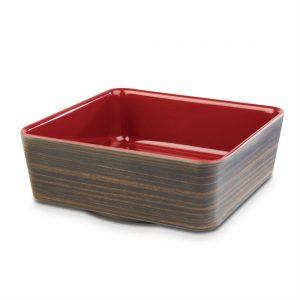 APS Plus Melamine Square Bowl Oak and Red 1.5 Ltr