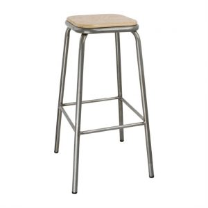Bolero Galvanised Steel High Stool with Wooden Seatpad (Pack of 4)