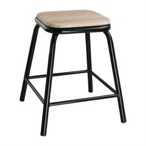 Bolero Black Low Stool with Wooden Seatpad (Pack of 4)