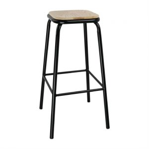 Bolero Black High Stool with Wooden Seatpad (Pack of 4)