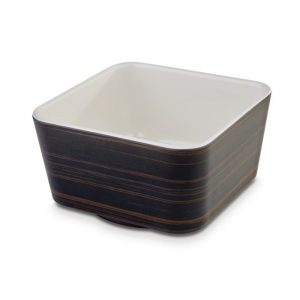 APS Plus Melamine Square Bowl Oak and Cream 700ml