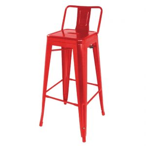 Bolero Steel Bistro High Stools with Back Rest Red (Pack of 4)