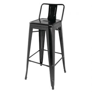 Bolero Steel Bistro High Stools with Back Rests Black (Pack of 4)