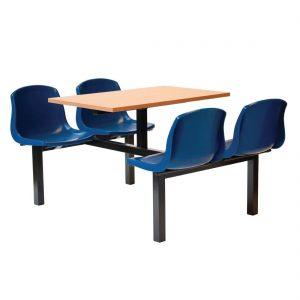Bolero Four Seater Dual Access Canteen Unit Beech and Blue