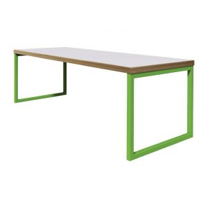 Bolero Dining Table White with Green Frame 6ft