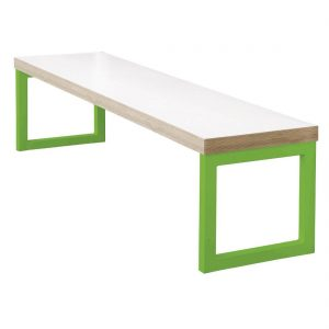 Bolero Dining Bench White with Green Frame 3ft