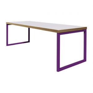 Bolero Dining Table White with Violet Frame 7ft