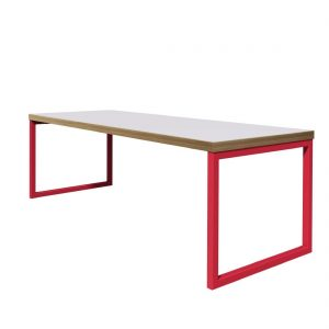 Bolero Dining Table White with Red Frame 4ft
