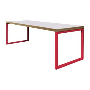 Bolero Dining Table White with Red Frame 6ft