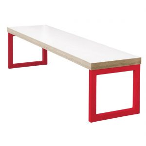 Bolero Dining Bench White with Red Frame 5ft