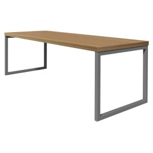 Bolero Dining Table Beech Effect with Silver Frame 6ft