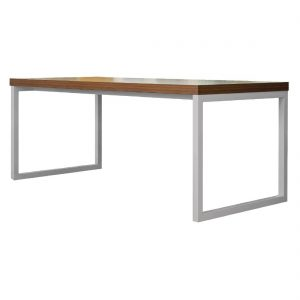 Bolero Dining Table Walnut Effect with Silver Frame 4ft