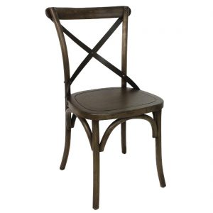 Bolero Wooden Dining Chair with Metal Cross Backrest (Pack of 2)