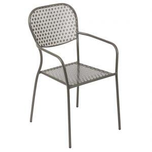 Bolero Grey Steel Patterned Bistro Armchairs (Pack of 4)