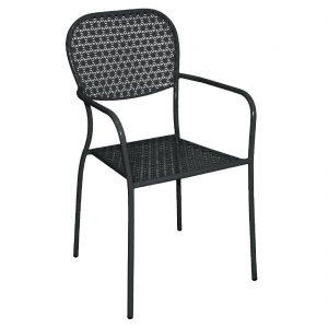 Bolero Black Steel Patterned Bistro Armchairs (Pack of 4)