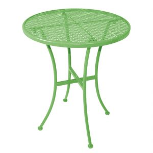 Bolero Green Steel Patterned Round Bistro Table Green 600mm