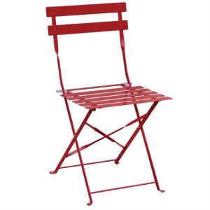 Bolero Red Pavement Style Steel Folding Chairs (Pack of 2)