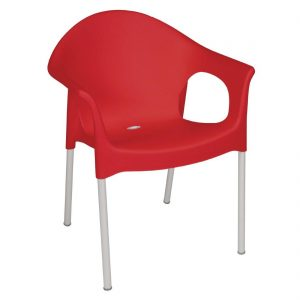 Bolero Stacking Bistro Armchairs Red (Pack of 4)