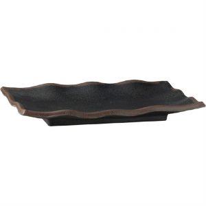 APS Marone Melamine Wavy Tray Black 225x 150mm