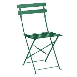 Bolero Pavement Style Steel Chairs Garden Green (Pack of 2)