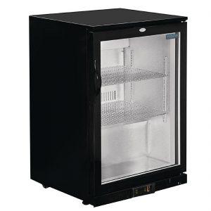 Polar Back Bar Cooler with Hinged Door in Black 198Ltr