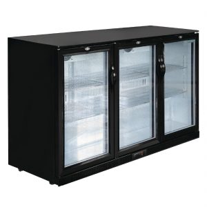 Polar Back Bar Cooler with Hinged Doors in Black 320Ltr
