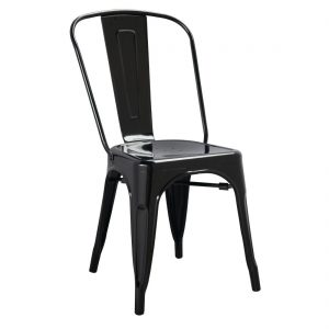 Bolero Black Steel Bistro Side Chair (Pack of 4)