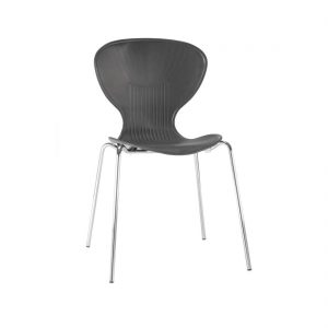 Bolero Black Stacking Plastic Side Chairs (Pack of 4)
