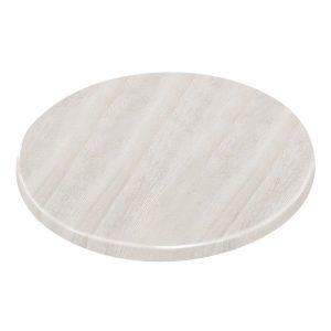 Bolero Pre-drilled Round Table Top Whitewash 800mm