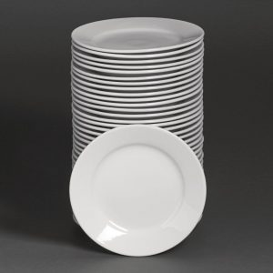 Bulk Buy Pack of 36 Athena Hotelware Wide Rimmed Plates 254mm