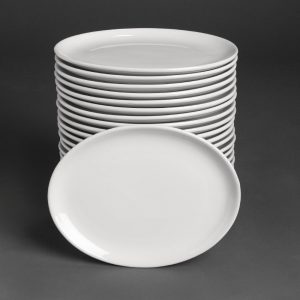 Bulk Buy Pack of 24 Athena Hotelware Oval Coupe Plates 254 x 197mm
