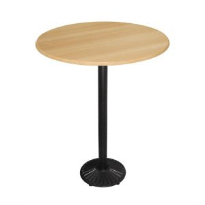 Special Offer Bolero Round 600mm Beech Bar Table with Iron Base Combo