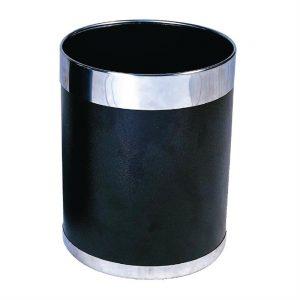 Bolero Black Waste Paper Bin with Silver Rim