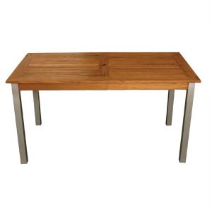 Bolero Wood and Aluminium Rectangular Table 1400mm