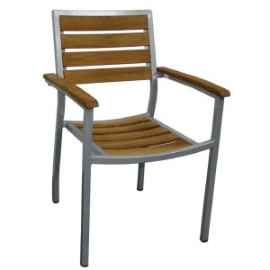 Bolero Wood and Aluminium Outdoor Chairs (Pack of 4)